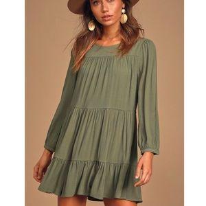Lulu's Full Of Heart Tiered Swing Dress XS Green